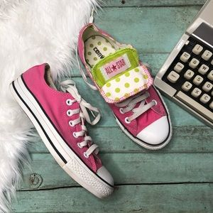 Converse Sneakers Pink Lime Polka Dot Womens 7